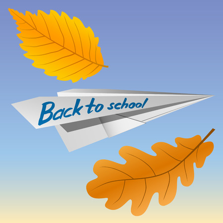 Paper airplane with the inscription Back to School. Falling autumn leaves. The celebration on 1 September. Vector Image. Illustration