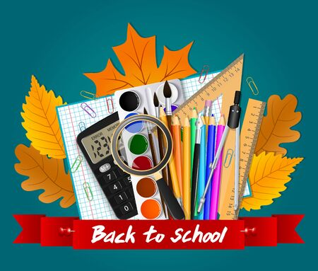 School tools. Autumn leaves and red ribbon with the inscription. Vector illustration Illustration