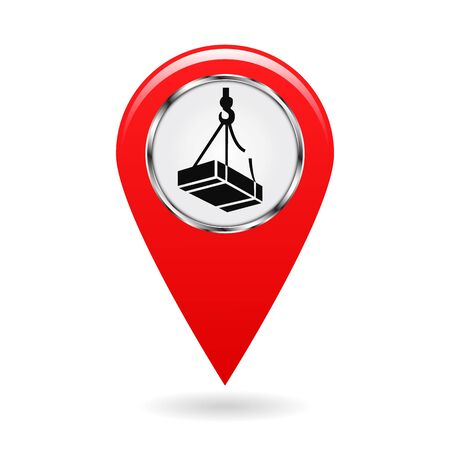 Map pointer. Safety symbol. Caution may drop shipping. Location and specify the coordinates on the terrain. Industrial Design. Red object on white background. Vector illustration. Çizim