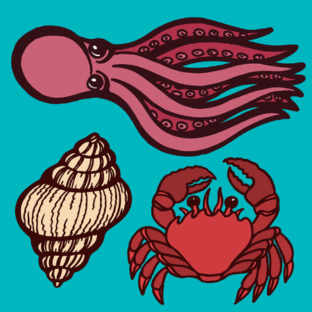 Marine inhabitants. Octopus, crab and shellfish. Isolated objects Vector illustration Illustration