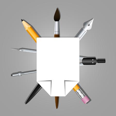 school class: Heraldry schools and arts organizations. Graphic and artistic tools. Vector illustration Illustration