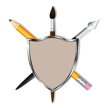 Shield with a pencil, art pen and brush. Heraldry for learning and creativity. Vector illustration 向量圖像