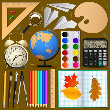 School items set . Isolated objects, Vector .