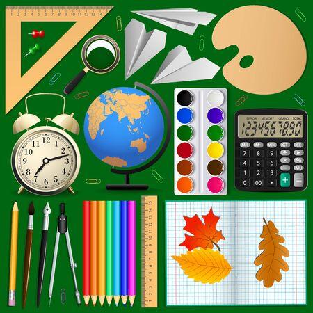 Ensemble d'éléments scolaires. Objets isolés, illustration vectorielle Banque d'images