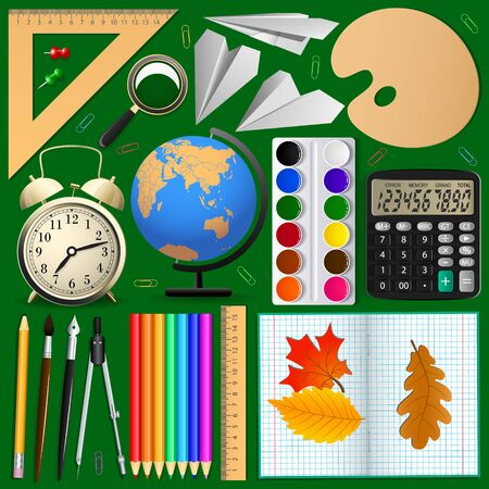 school class: School items set . Isolated objects, Vector illustration