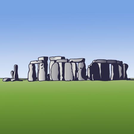 Stonehenge. Landmark of England. Megalithic monument for religious ceremonies. Vector illustration. Illustration