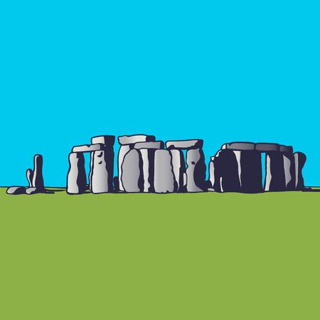 Stonehenge. Landmark of England. Megalithic monument for religious ceremonies. Vector illustration. Illustration