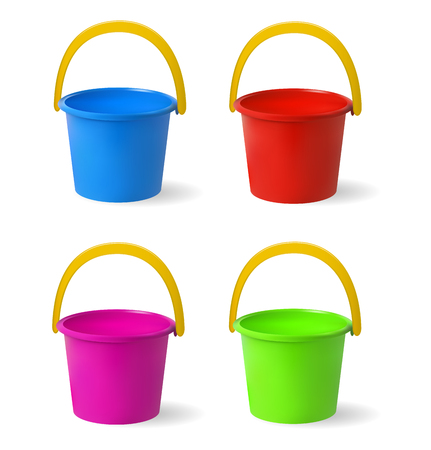 palanca: Colored baby buckets. Set of multi-colored buckets for playing in sandbox. Isolated objects on white background. Vector illustration.