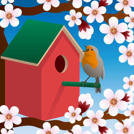Bird near birdhouse. Blossoming spring tree. Spring. Vector illustration Reklamní fotografie - 84004982