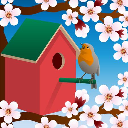 Bird near birdhouse. Blossoming spring tree. Spring. Vector illustration Illustration