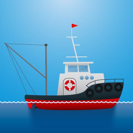 タグボート。漁師の船。漫画のスタイル。面白い画像ベクトル図