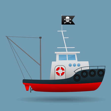 Tug boat with pirate flag raised. Vector illustration.