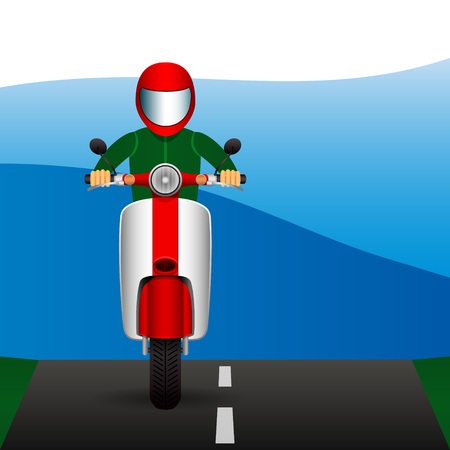 Scooter rides along on asphalt road. Vector illustration Illustration