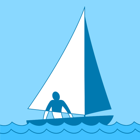 floating: Small sailing boat. Sloop. Ship coming through waves under sail. Man on board. Vector illustration
