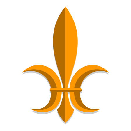 Symbol of royal power in medieval France . Stylization. Heraldry. White background. Isolated object. Vector illustration.
