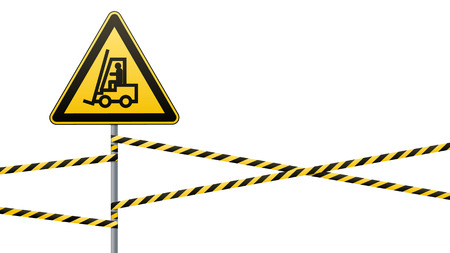 Safety sign. Caution - danger Movement of autoloader. Barrier tape. White background. Vector illustration.