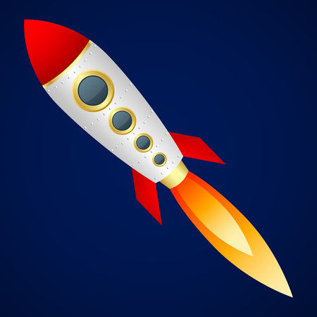 Rocket on dark blue background. Cartoon style. Vector Image.