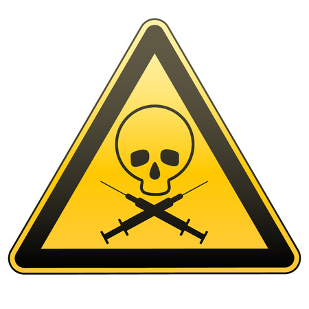 screen savers: Warning sign. Drug addiction and AIDS. Caution - danger. Illustration