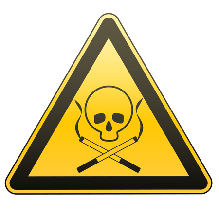 deathly: Warning sign. Smoking leads to death. Caution - danger.