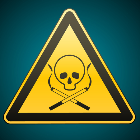 deathly: Warning sign. Smoking leads to death. Caution - danger. Illustration Illustration