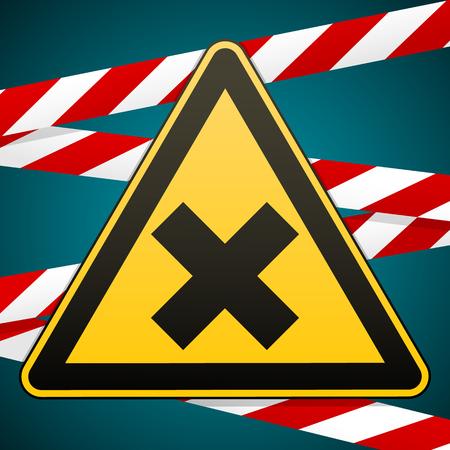 Safety sign. Caution - danger Harmful to health allergic irritant substances. Barrier tape illustration.