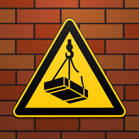 International safety warning sign. Beware of falling loads The sign on the brick wall background. Black image on yellow triangle. Vector illustration. Illustration