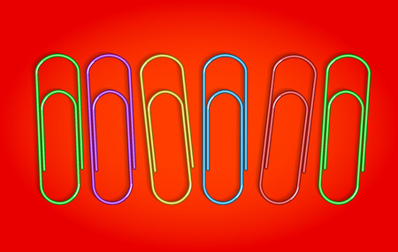 Multicolored paper clips on red background. Vector illustrations Illustration