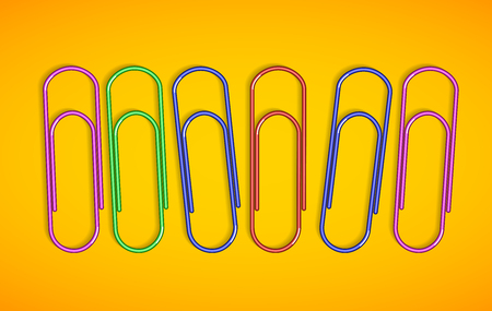 Multicolored paper clips on yellow background. Vector illustrations