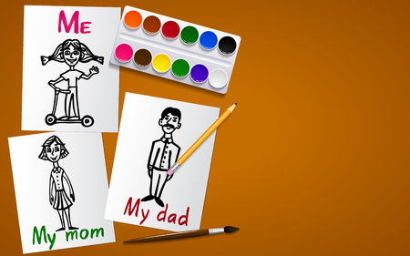 Drawing and creativity. My family. Father, mother and me. Drawings on paper. Tools for drawing. Working plane and background. Vector Image. Illustration