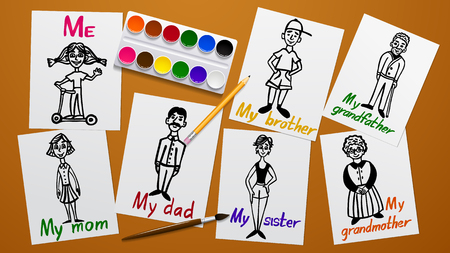 Drawing and creativity. My family. Father, mother, grandparents, siblings and me. Figures on paper. The paint tools. Working plane and background. Vector illustration