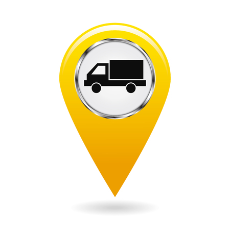 Map pointer. Pointer vehicle location, road transport and highways. Motor van or truck. The risk of collision. Safety symbol. The yellow object on white background. Vector illustration.