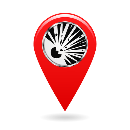 Map pointer. Index blasting and explosion hazard areas on the map. Safety symbol. Red object on a white background. Vector illustration. Illustration