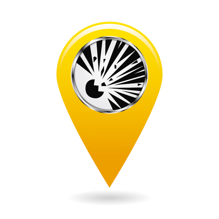 Map pointer. Index blasting and explosion hazard areas on the map. Safety symbol. Yellow object on white background. Vector illustration.