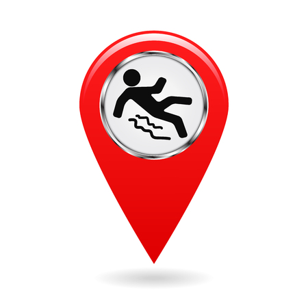 pointer on the map. location in area. reference point on plan. industrial design. accident prevention. beware of slippery. isolated object. vector illustration.