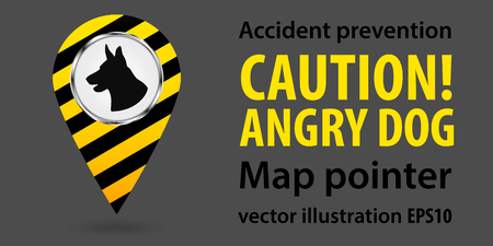 Map pointer. Be aware of dogs. Safety information. Industrial design. Vector illustration Illustration