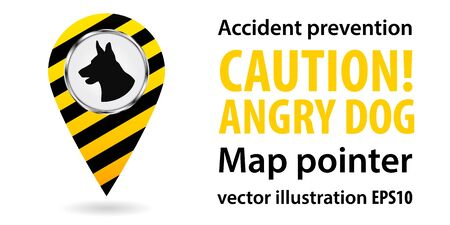 Map pointer. Be aware of dogs. Safety information. Industrial design. Vector illustrations.