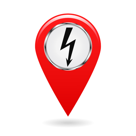 leak: Map pointer. The pointer of power plants and various objects related to electricity on the area map. safety symbol. red object on a white background. Vector illustration. Illustration