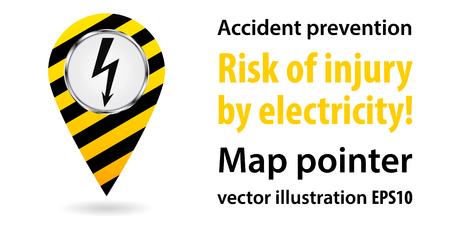 high voltage symbol: Map pointer. Safety information. Industrial design Vector illustration