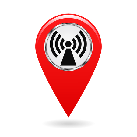 magnetization: Map pointer. Index electromagnetic field areas on the map. Safety symbol. Red object on white background. Vector illustration.