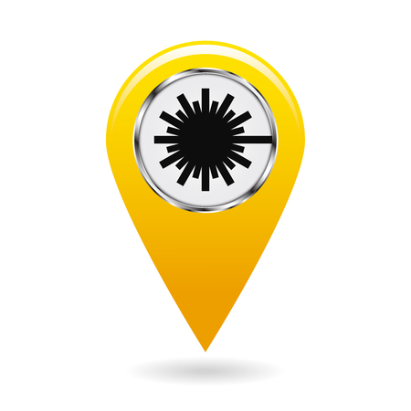 Map pointer. Safety symbol. Index of zones with laser radiation. Location and specify the coordinates on map terrain. Industrial Design. Yellow object on white background. Vector illustration.