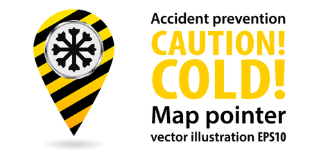 hoarfrost: Map pointer. Safety information. Industrial design Vector illustration