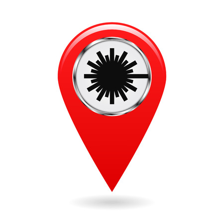 Map pointer. Safety symbol. Index of zones with laser radiation. Location and specify the coordinates on map terrain. Industrial Design. Red object on white background. Vector illustration.
