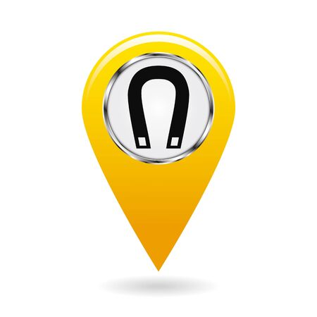 Map pointer. Index magnetic field areas on the map. Safety symbol. Yellow object on white background. Vector illustration. Illustration