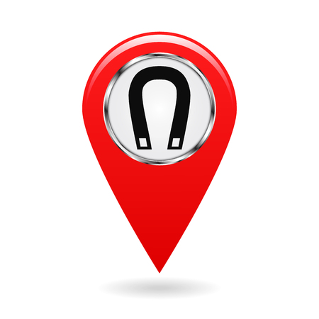 Map pointer. Index magnetic field areas on the map. Safety symbol. Red object on white background. Vector illustration. Illustration