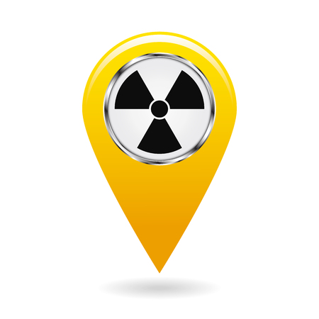 Map pointer. Pointer radiation hazards and contamination places on the map terrain. A symbol for safety. Yellow object on white background. Vector illustration. Illustration