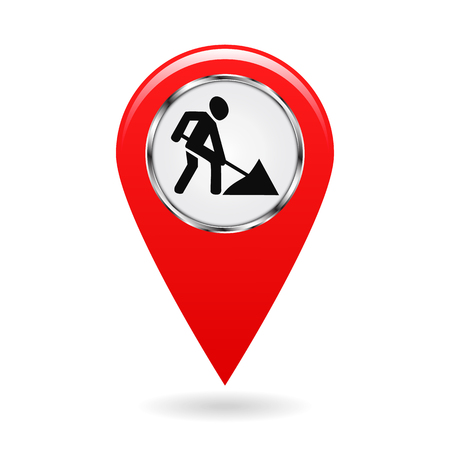repairs: Map pointer. Indicator of repairs and emergency areas on the map terrain. safety symbol. Red object on white background. Vector illustration.