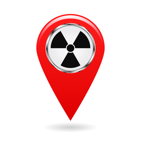 Map pointer. Pointer radiation hazards and contamination places on the map terrain. A symbol for safety. Red object on white background. Vector illustration.
