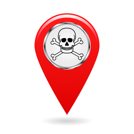 infected: Map pointer. Index of poisonous substances on the area map. safety symbol. Red object on white background. Vector illustration. Illustration