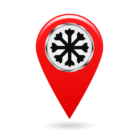 sleet: Map pointer. The pointer of snow drifts and icy areas on the map terrain. safety symbol. Red object on white background. Vector illustration.