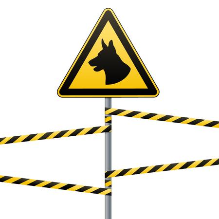 Vorsicht - Gefahr Achten Sie auf Hunde. Die Umgebung wird von Hunden bewacht. Warnzeichen Sicherheit. Melden Sie sich an der Stange und den Warnbändern an. Weißer Hintergrund. Vektor-Illustration.